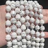 YELVQI Hermosa Cuentas de Piedra Natural Howlita Blanca Facetada Facetada Energía Afilada Columna Suelta Perlas Sueltas para la fabricación de Joyas de Bricolaje Accesorios 15 ''