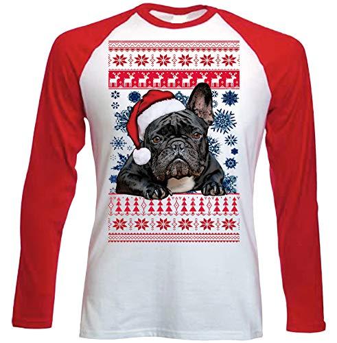 teesquare1st Santa French Bulldog Black Christmas Camiseta DE Mangas ROJA LARGAS...