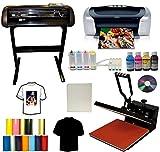 15x15 Heat Transfer Press,28' 24' Vinyl Cutter Plotter,Printer+CISS+Ink,Tshirt Bundle