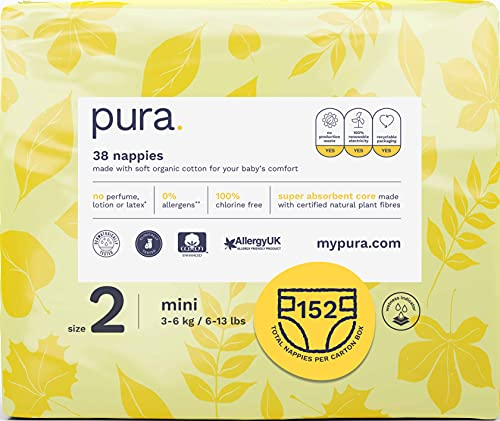 Pura Premium Eco Baby Nappies Size 2 (Mini 5-8kg / 12-18 lbs) 4 Packs of 38 Nappies (152 Total), FSC Certified Natural Plant Fibres, Pure, Environmentally friendly