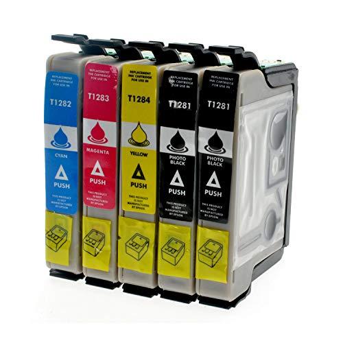 5 Tintenpatronen kompatibel zu Epson T1281 - T1284 für Epson Stylus Office BX 305 F FW Plus S 22 SX 125 235 435 - Schhwarz je 14,5ml, Color je 11,5ml