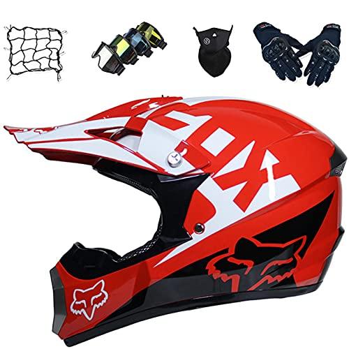 Aidasone Conjunto de casco de moto, casco de motocross para niños con gafas/guantes/máscara/red de bungy, casco de motocicleta para MTB Downhill Dirt Quad Bike MX - con diseño FOX, rojo, XL