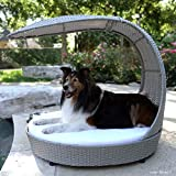 The Refined Canine Outdoor Dog Chaise Bed w/Shade Hood, Waterproof Poly Rattan Lounger with Washable Cushion, Smoke, Chaise-SK-AMZ