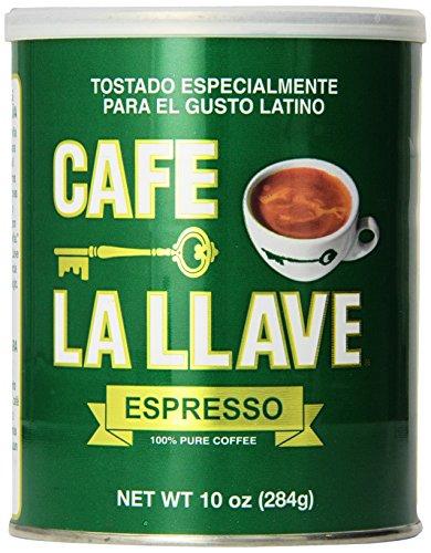 Café La Llave Espresso 100% Pure Coffee, Dark Roast Espresso (10-ounce can)