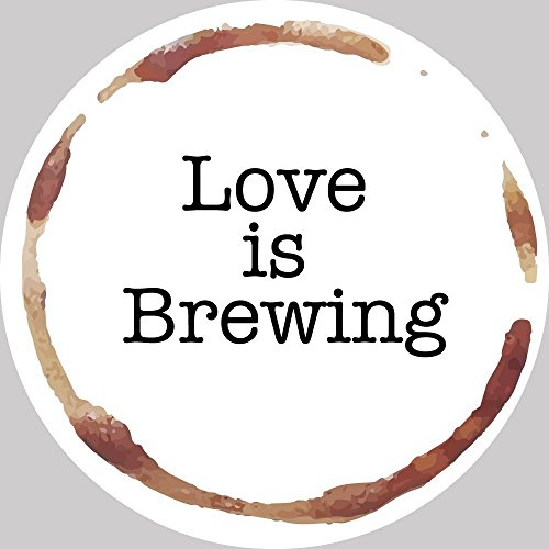 24 ROUND WEDDING STICKER LABEL, LOVE IS BREWING - 2, WEDDING THEMED CIRCLE LABEL STICKERS FOR PARTY FAVORS & INVITATIONS (PRE-SET DESIGNED), (SET OF 24)