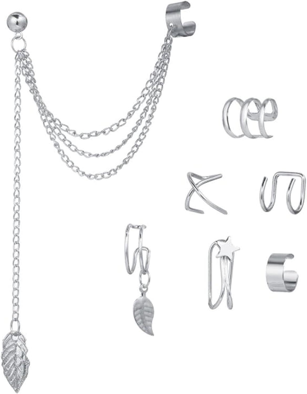 Underleaf 7Pcs Ear Cuff Cartilage Clip On Wrap Earrings Non Piercing Earrings Jewelry Set for Women Girls