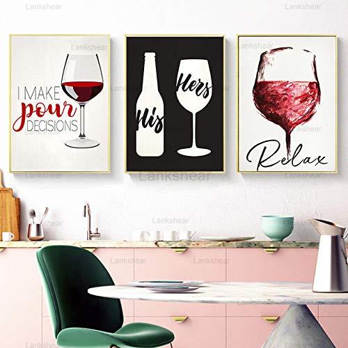 Arte de la Cocina Pintura de la Lona Cartel de la Copa de Vino nórdica Arte de la Pared Cuadros Abstractos Decoración Moderna para el hogar para el Comedor -40X60cm 16x24 Pulgadas sin Marco