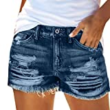 NIDOV High Waisted Jean Shorts for Women Distressed Ripped Cut Off Denim Shorts Blue XL