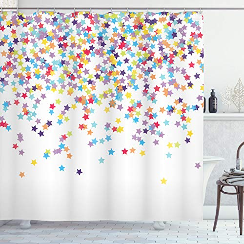 Ambesonne Star Shower Curtain, Falling Star Shaped Party Items Birthday Anniversary Surprise Party Celebration Theme, Cloth Fabric Bathroom Decor Set with Hooks, 70' Long, Purple Blue