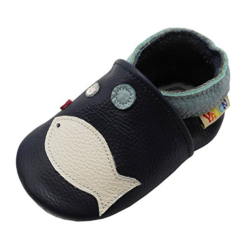 YALION Soft Sole Leather Baby Shoes First Walking Pre-Walker Moccasins Infant Toddler First Shoes with Lovely Fish(APPR.0-6 Months,Navy Blue)