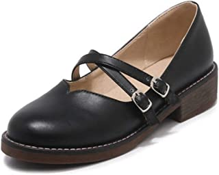 CYBLING Womens Comfort Closed Round Toe Buckled Strap Chunky Low Heel Solid Mary Jane Pumps Shoes