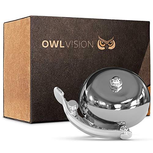 OWL VISION - Hochwertige Fahrradklingel Classic [universal passend] Fahrrad Klingel Retro mit sehr klarem Klang - Premium Fahrradglocke für Mountainbike Rennrad - MTB & Fahrrad Zubehör Glocke Ring (silber)