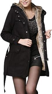 ReooLy Warm Thick Long Jacket,Ladies Fur Lining Coat Womens WinterHooded Parka