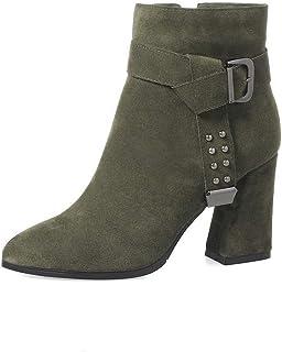 BalaMasa Womens Dress Bucket-Style Solid Urethane Boots ABM13098