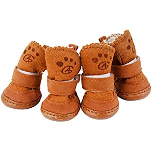Customer reviews Warm Walking Cozy Pet Dog Shoes Boots Clothes Apparel 3# - Tan-Fit Paws (Approx.) 1 3/4'' x 1 1/2'' (L x W):Hitspoker
