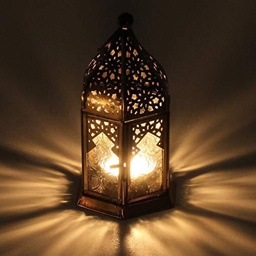 Casa Moro Orientalisches Windlicht Nael weiß aus Metall & Glas | Marokkanische Glaslaterne für drinnen & draußen | Glaswindlicht Antikgoldfarbenes Windlicht mit Ornamentglas | WDL1011