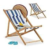 Relaxdays, Azul, Pack 2 Tumbonas Plegables Jardín y Playa con Reposacabezas, Bambú, 79-66 x 55 x...