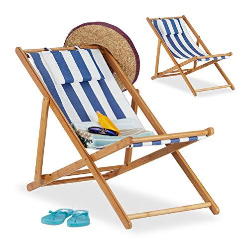 Relaxdays, blau Liegestuhl im 2er Set, Klappliegestuhl aus Bambus, Stoffbezug...