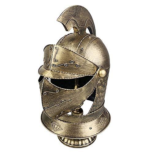 QSCVDEA Helm-Ornamente, Retro-Eisen-Dekorationshelm-Ornamente, mittelalterliche Rüstung Warrior-Modelle, handgefertigt, Barfotografie Requisiten (Color : Gold)
