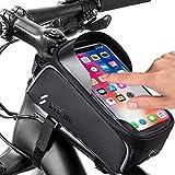 Bolsa para cuadro de bicicleta, resistente al agua, para smartphones de menos de 6,5 pulgadas, bolsa para manillar con parasol y orificio para auriculares, TPU