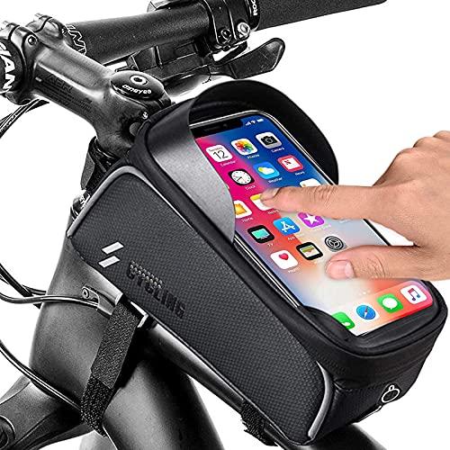 Lachesis Borsa Telaio Bici Impermeabile Borsa Porta Cellulare Bici Borsa da Bicicletta Manubrio con Touchscreen TPU, Borsa Smartphone Bici Adatto per Telefoni sotto 6.5 Pollici