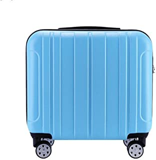 Trolley Case 18 inch Carry On Luggage Lightweight ABS 4 Wheel Spinner Suitcase Hard Cabin Travel Case Hand Luggage for British Airways Ryanair Travel Luggage Carry-Ons (Color : Blue)