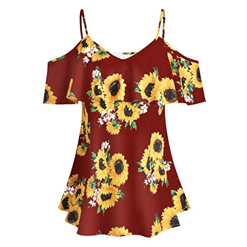 MOMOXI Verano Tops/Blusas/Camisas para Mujer, Tallas Grandes Mujer Girasol Impreso Camis Manga Corta Volantes Frío Shouder Blusa