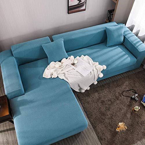 Fsogasilttlv Lavable y elástico Estampado Funda de sofá Funda de cojín de Asiento de sofá Grueso de 4 plazas, Protector de Muebles, Funda de sofá de Esquina de Color sólido elástico 1 Uds