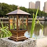LGOO1 Traditional Victoria Style Pedestal Light IP65 Waterproof Rustproof Aluminum Glass Outdoor Column Headlight Villa Garden Lawn E27 Illumination Landscape Street Pillar Lantern (Color : Bronze)