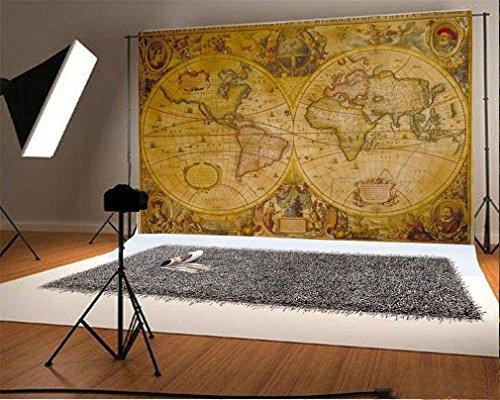 YongFoto 1,5x1m Vinilo Fondo de Fotografia Vintage Antiguo Mapa del Mundo Antiguo Viaje Telón de Fondo Fiesta Niños Boby Boda Adulto Retrato Personal Estudio Fotográfico Accesorios