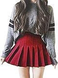 Girls Women High Waisted Plain Pleated Skirt Skater Tennis School Uniforms A-line Mini Skirt Lining Shorts (Red, Large)