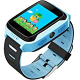 1.44' Touch GPS Tracker Smart Watch Phone for Kids with SIM Solt Pedometer SOS Camera Smart Bracelet Smartwatch Boys Girls Children Fitness Tracker Easter Gifts Toys (BlueBlack)