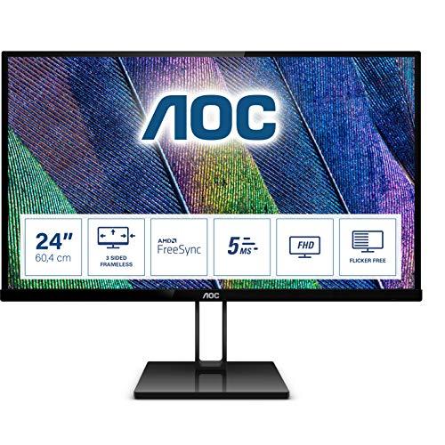 AOC 24V2Q - 24 Zoll FHD Monitor, FreeSync (1920x1080, 75 Hz, HDMI, DispalyPort) schwarz