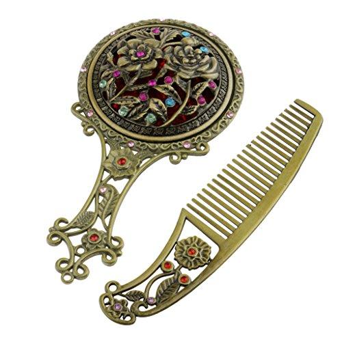 perfeclan Strass Antique Plaqué Ensemble De Peigne à Main Maquillage Miroir Creux - Bronze rond