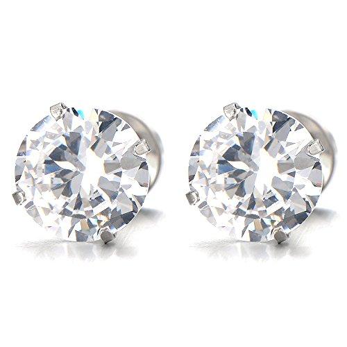 1 Pair 8MM Mens Ladies White Cubic Zirconia Stud Earrings Stainless Steel...