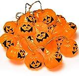 Gibot Halloween Pumpkin Lights Lanterns, Jack O Lantern,20 LED 6.9 feet Battery Powered Pumpkin String Lights 3D Jack o Lantern Halloween Pumpkin Lights Decor for Indoor Outdoor Party Ideas, Orange