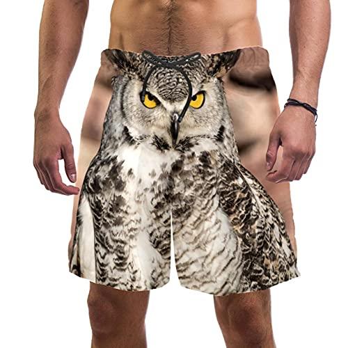 RuppertTextile Pantaloncini Uomo Costume Bagno Asciugatura Rapida Tasche coulisseIn Piedi del Gufo del Sud Africa Costumi Bagno Spiaggia Casual Sportivi