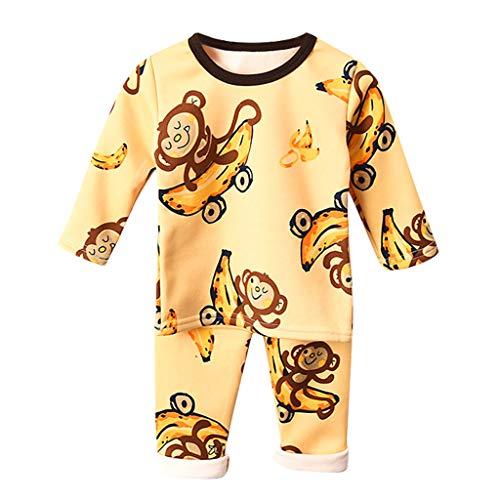 Hui.Hui Enfants Famille Vêtements Garçons Filles T-Shirt À Manches Longues Cartoon Animal Imprimé Pyjamas Coton Plus Velours Épaissir Ensemble