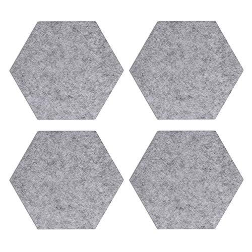 Navaris Filz Memoboards Set sechseckig - 4X Filz Pinnwand 20 x 17 x 1,5cm mit Stecknadeln und Klebeband - Filzboard für Küche und Büro - Hellgrau
