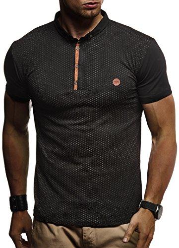 Leif Nelson Herren Sommer T-Shirt Polo Kragen Slim Fit Baumwolle-Anteil Basic schwarzes Männer Poloshirts Longsleeve-Sweatshirt Kurzarm Weißes Kurzarmshirts lang LN1295 Schwarz Small