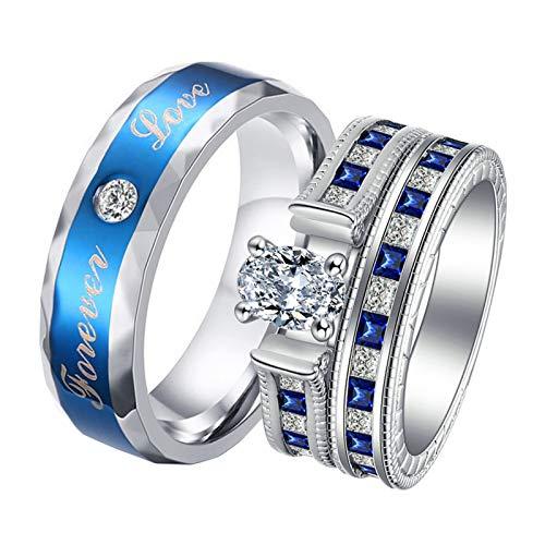 Daesar Anillos de 1Par Parejas Acero Inoxidable Plata Azul Redondo Forever Love con Circonita Azul Blanca Talla Mujer 17 & Hombre 22