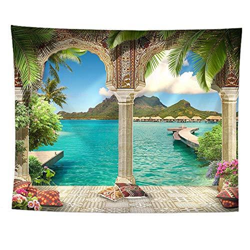 KHKJ Retro Estilo Europeo balcón Vacaciones Tapiz de Pared Paisaje Natural Viaje Playa Dormitorio Decorativo Manta de Pared A2 200x150cm