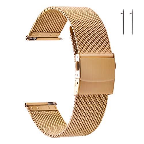 EACHE Bracelets de Montre en Maille d'acier Inoxydable en Or Rose 14 mm pour Femmes Bracelets de Montre en Maille à dégagement Rapide