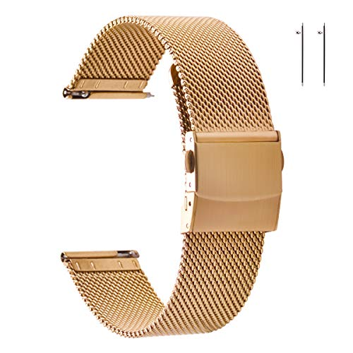 EACHE Stainless Steel Mesh Watch Straps for Women Quick Release Adjustable Mesh Watch Bands 20mm Rose Gold