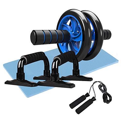 yorten 4-en-1 AB Wheel Roller Kit Abdominal Press Wheel Pro con Barra Push-up Saltar la Cuerda y la Almohadilla para la Rodilla Equipo Portátil
