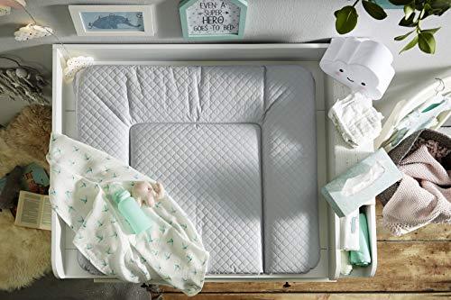 Rotho Babydesign Tapis à Langer Matelassé, Modern Square, À partir de 0 mois, 85x72x7cm, Argent, 204430168CH