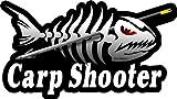 ProSticker 1516 (One) 3.5' X 7' Fishing Art Series Carp Shooter Skeleton Arrow Decals Sticker