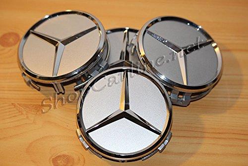 4Radkappen Mercedes für Radnabe zur Abdeckung der Felge, 75mm, A-, B-, C-, E-, S-, ML-, SLK, R-Klasse, Emblem