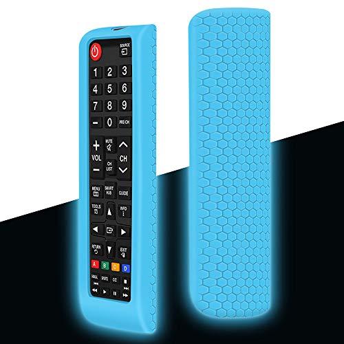 Funda Protectora de Silicona Compatible con Mando TV Samsung BN59-01175N BN59-01315B AA59-00741A BN59-01199F BN59-01199G Antideslizante Carcasa de Protección para Mando Samsung - Glow Blue