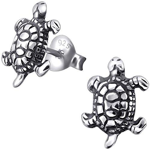 EYS JEWELRY Ohrstecker Damen Schildkröten 925 Sterling Silber oxidiert Damen-Ohrringe